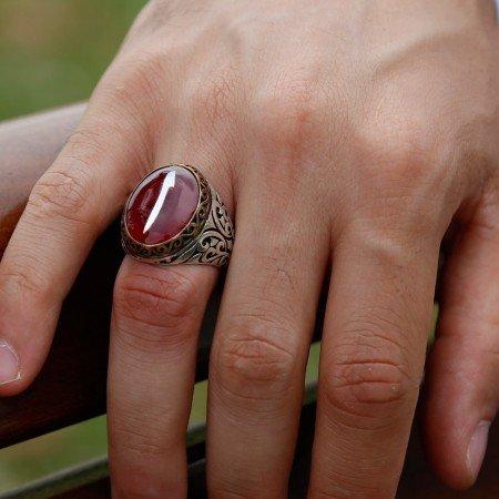 925 Ayar Gümüş Vişne Bakalit Üzerine Sedef Kakma Elif Yüzük - Thumbnail
