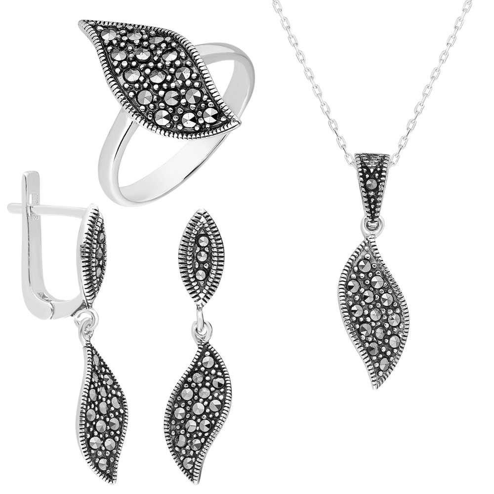 Zirkon Taşlı Yaprak Tasarım 925 Ayar Gümüş 3'lü Takı Seti