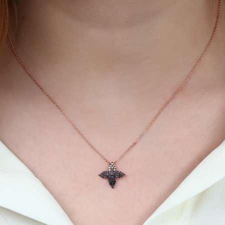 Zirkon Taşlı Yaprak Tasarım 925 Ayar Gümüş Bayan Kolye - Thumbnail