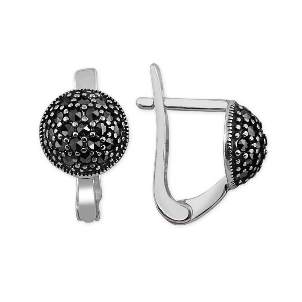 Siyah Zirkon Taşlı Yarım Küre Tasarım 925 Ayar Gümüş Küpe
