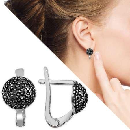 Siyah Zirkon Taşlı Yarım Küre Tasarım 925 Ayar Gümüş Küpe - Thumbnail