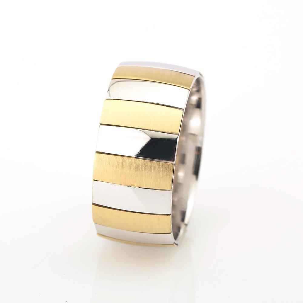 Yatay Blok Tasarım Gold-Gri Renk 925 Ayar Gümüş Erkek Alyans