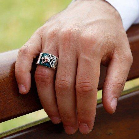 925 Ayar Gümüş Yeşil Akik Taş Üzerine Aslan Figürlü Yüzük - Thumbnail