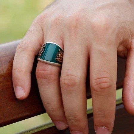 925 Ayar Gümüş Yeşil Akik Taşlı Armalı Yüzük - Thumbnail