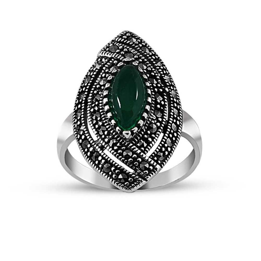 925 Ayar Gümüş Yeşil Akik Taşlı Bayan Yüzük