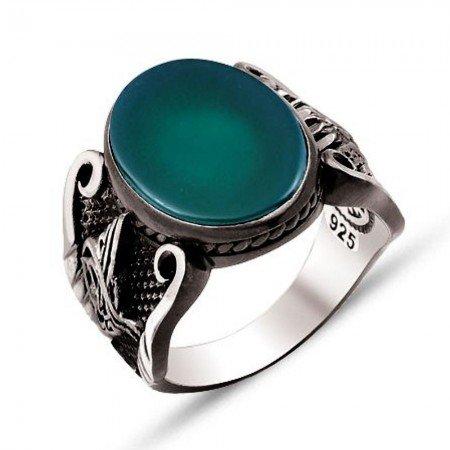 925 Ayar Gümüş Yeşil Akik Taşlı Oval Yüzük - Thumbnail