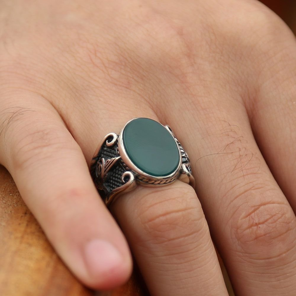 925 Ayar Gümüş Yeşil Akik Taşlı Oval Yüzük