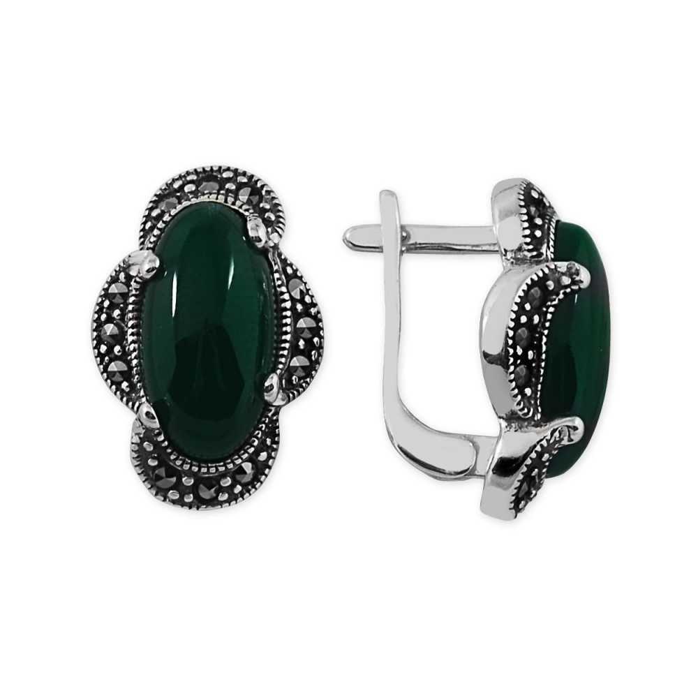 925 Ayar Gümüş Yeşil Akik Taşlı Özel Tasarım Küpe