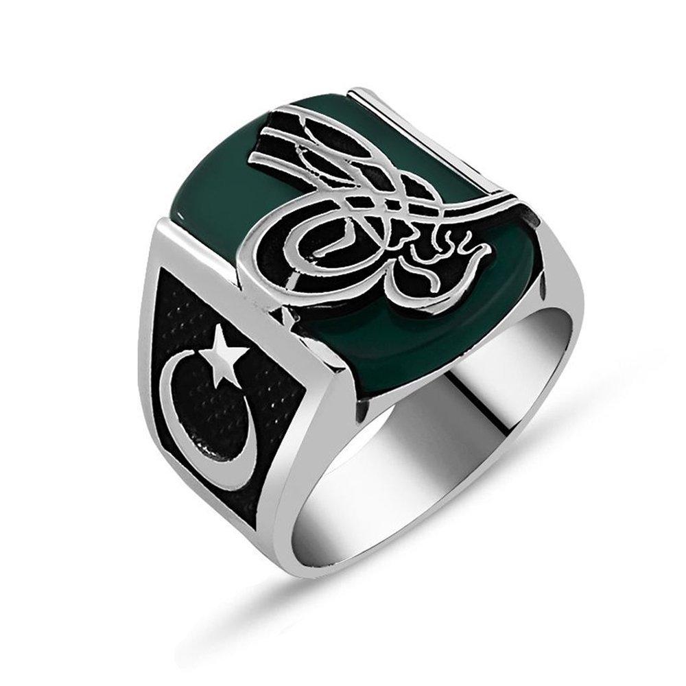 925 Ayar Gümüş Yeşil Akik Taşlı Tuğralı Yüzük
