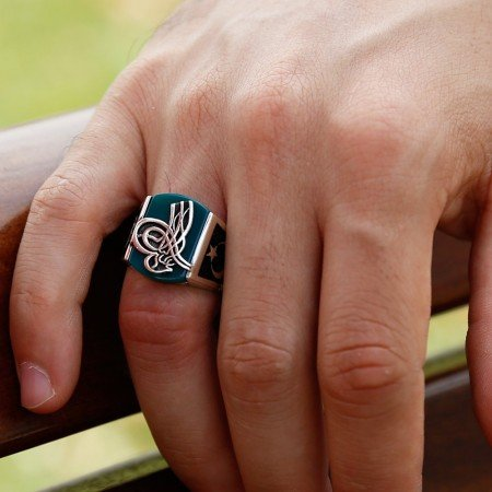 925 Ayar Gümüş Yeşil Akik Taşlı Tuğralı Yüzük - Thumbnail