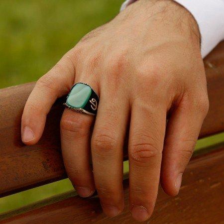 925 Ayar Gümüş Yeşil Akik Taşlı Yüzük - Thumbnail