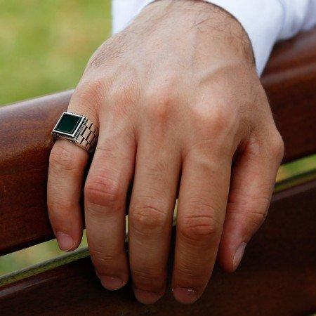Simetrik Desenli Yeşil Akik Taşlı 925 Ayar Gümüş Erkek Yüzük - Thumbnail