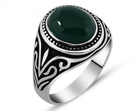 925 Ayar Gümüş Yeşil Akik Taşlı Yüzük (model 3) - Thumbnail