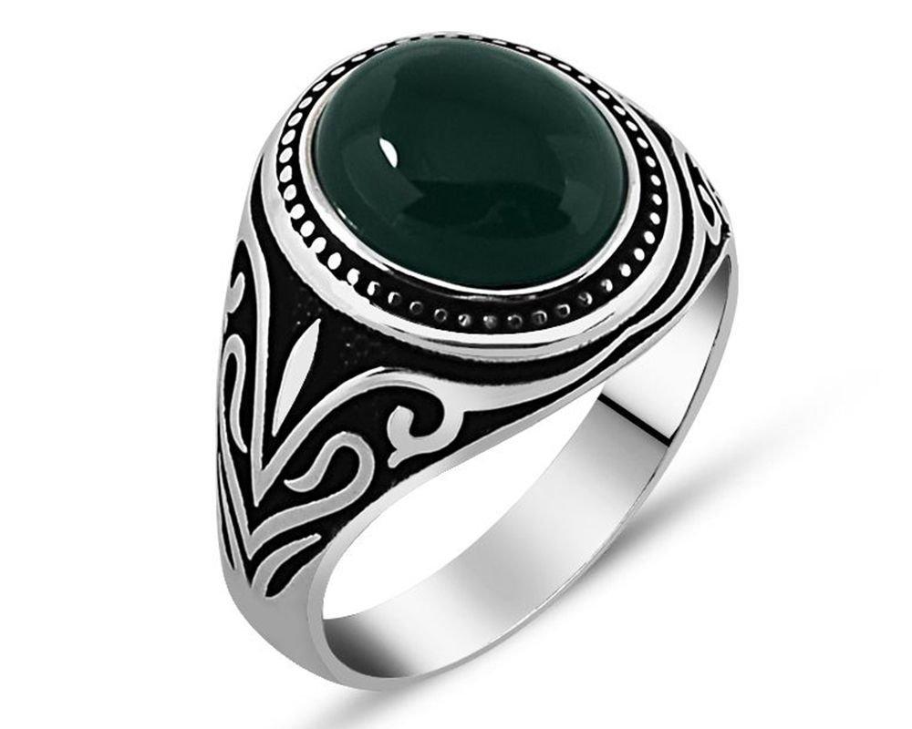 925 Ayar Gümüş Yeşil Akik Taşlı Yüzük (model 3)