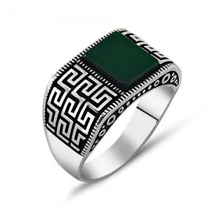 925 Ayar Gümüş Yeşil Akik Taşlı Yüzük (Model-4) - Thumbnail