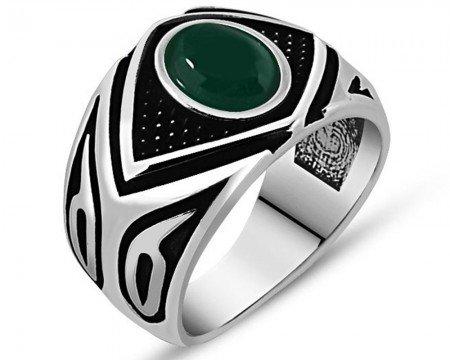 925 Ayar Gümüş Yeşil Akik Taşlı Yüzük (Model-5) - Thumbnail