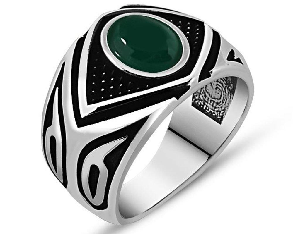 925 Ayar Gümüş Yeşil Akik Taşlı Yüzük (Model-5)