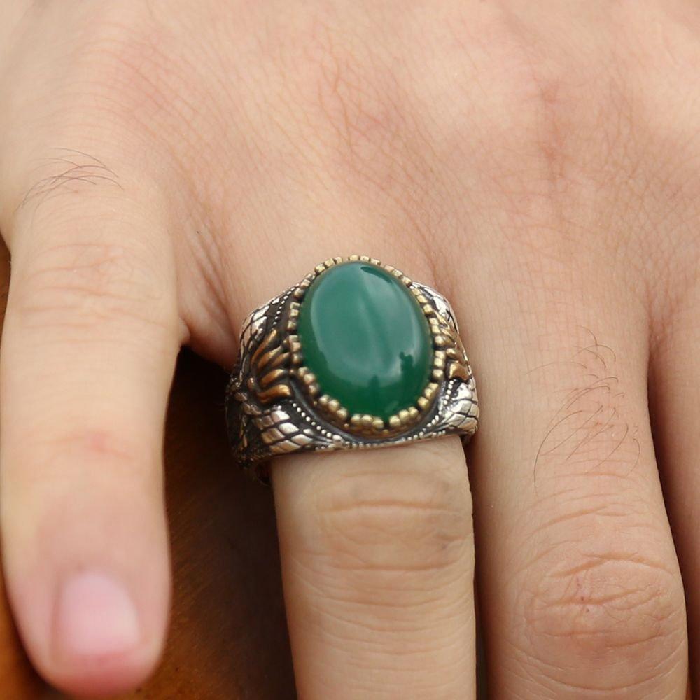 925 Ayar Gümüş Yeşil Akik Taşlı Yüzük