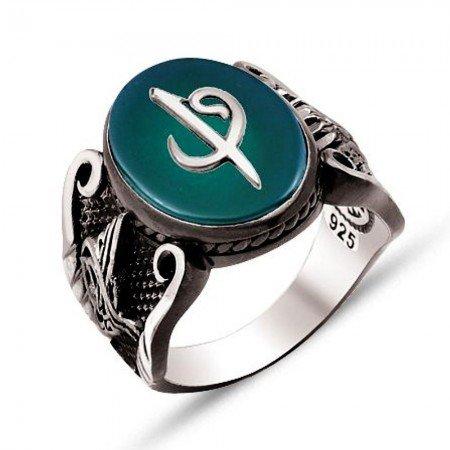 925 Ayar Gümüş Yeşil Akik Üzerine Elif Vav Kabartmalı Yüzük - Thumbnail