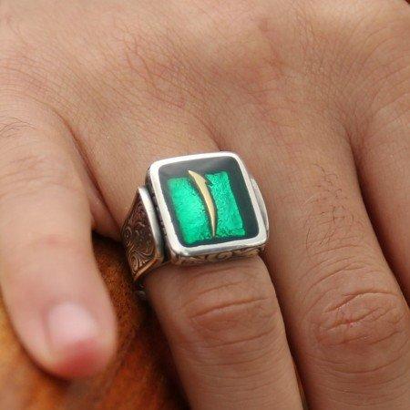 925 Ayar Gümüş Yeşil Mine Üzerine Elif Harfli Kare Yüzük - Thumbnail