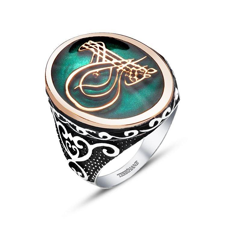 925 Ayar Gümüş Yeşil Mine Üzerine Tuğra Tasarım Yüzük