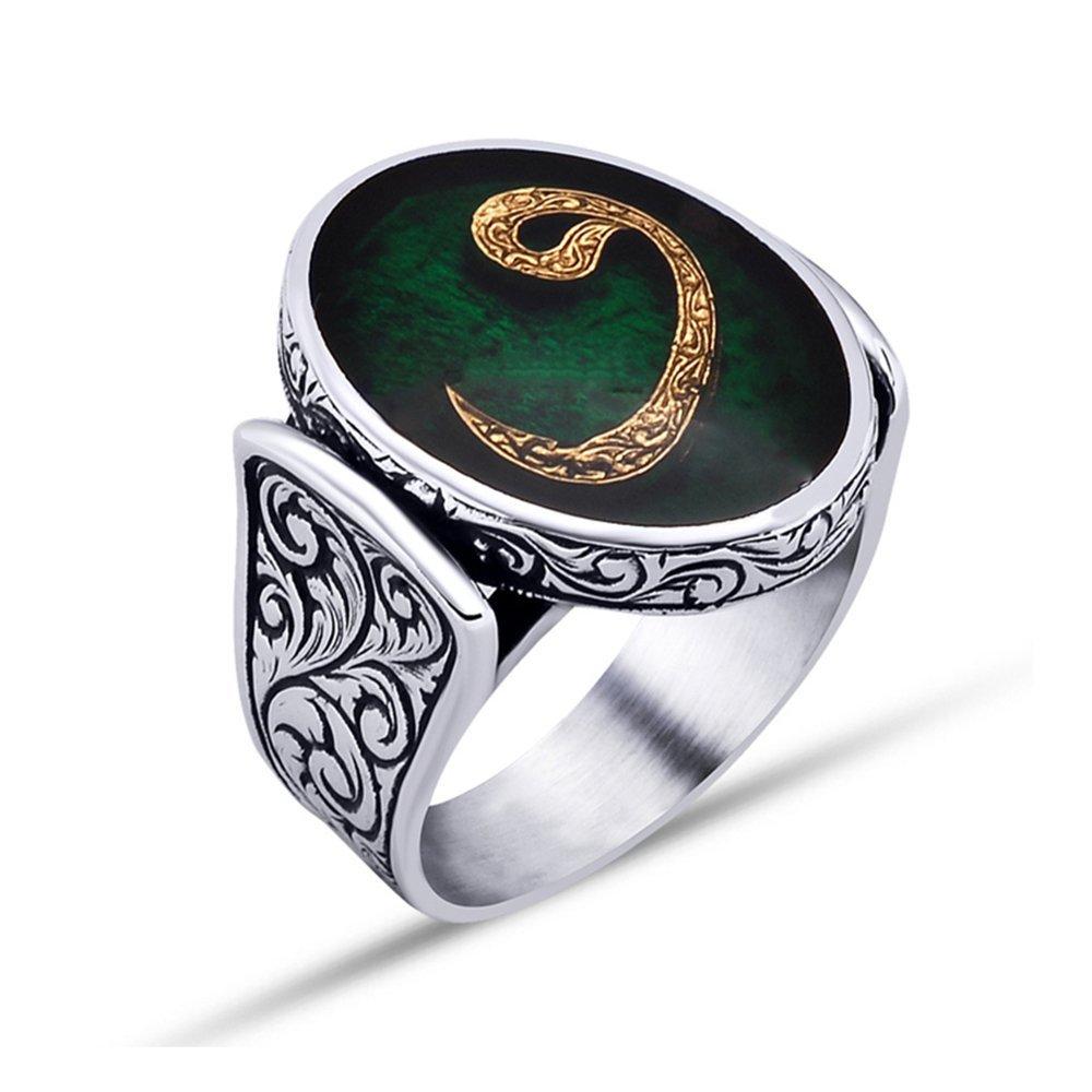 925 Ayar Gümüş Yeşil Mine Üzerine Vav Harfli Oval Yüzük