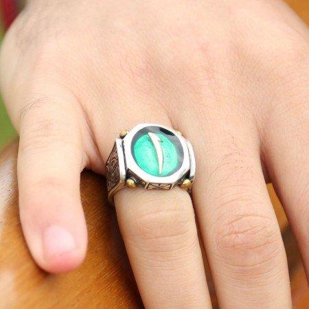 925 Ayar Gümüş Yeşil Mineli Elif Harfli Özel Tasarım Yüzük - Thumbnail