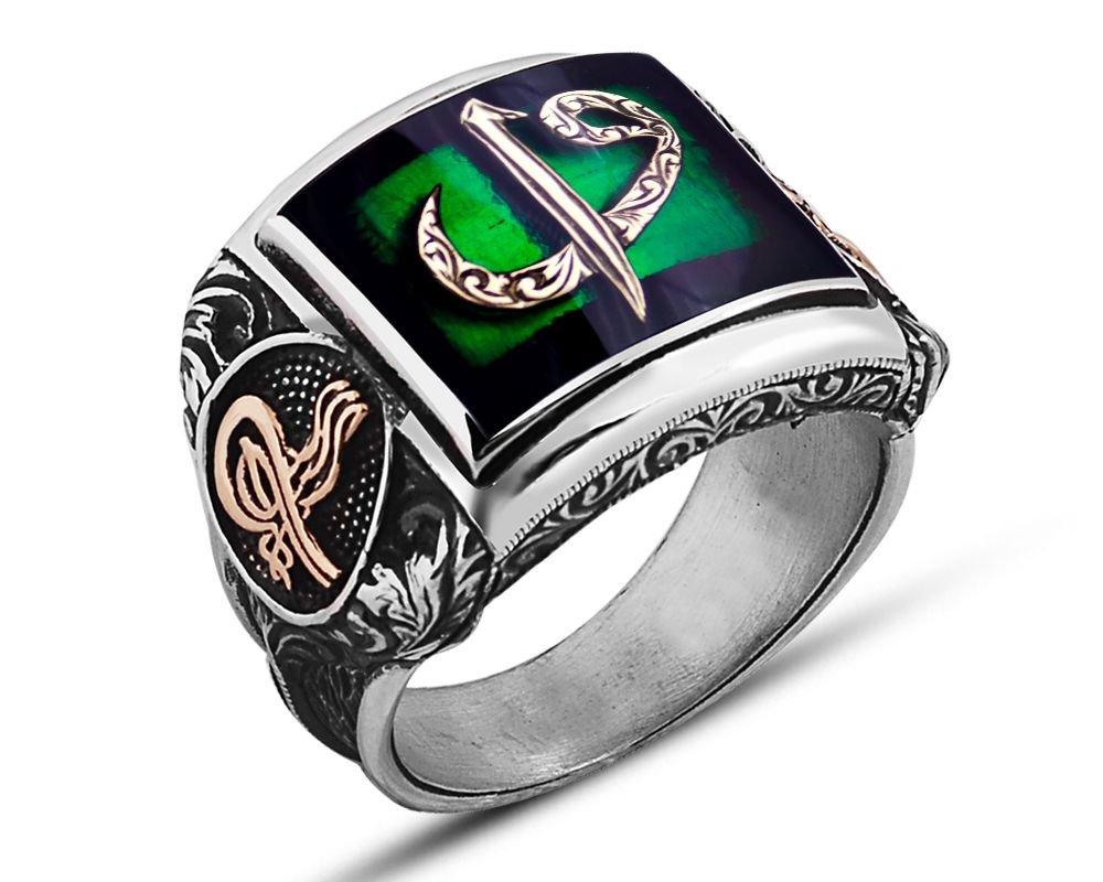 925 Ayar Gümüş Yeşil Mineli Elif Vav Yüzük