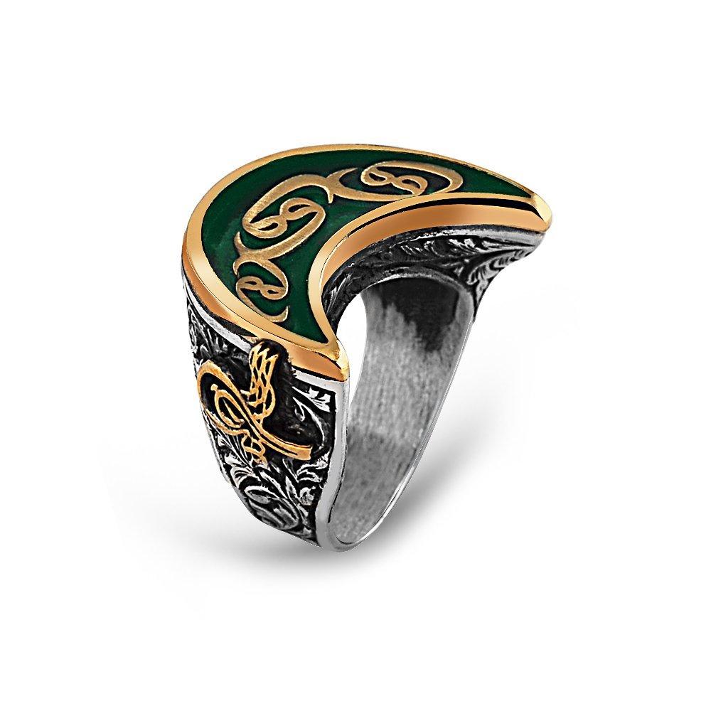 925 Ayar Gümüş Yeşil Mineli Osmanlı Tuğra Detay Vav İşlemeli Hilal Yüzük