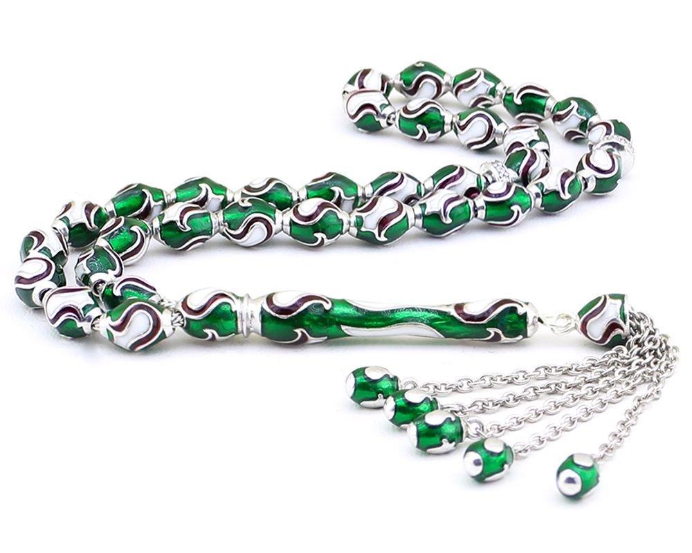 925 Ayar Gümüş Yeşil Mineli Tesbih