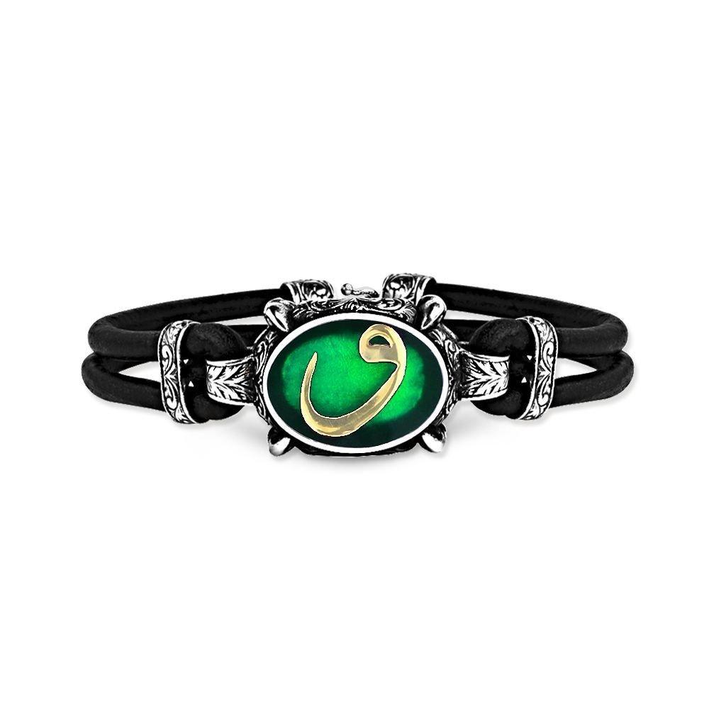 925 Ayar Gümüş Yeşil Mineli Vav Bileklik