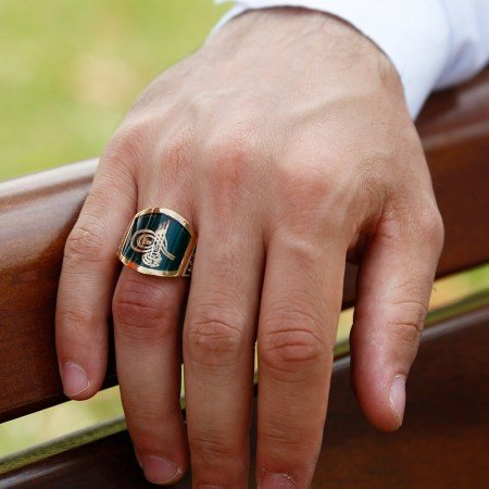 925 Ayar Gümüş Yeşil Mineli Yüzük - Thumbnail