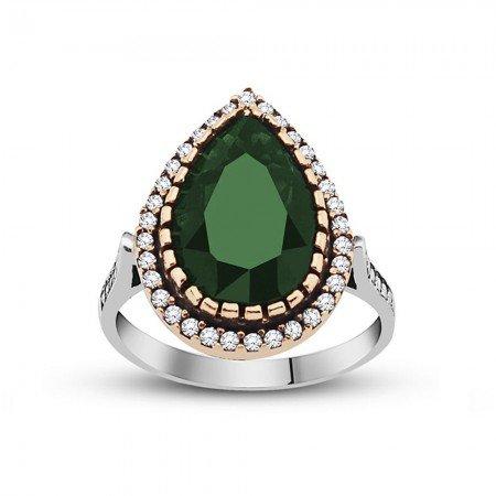 925 Ayar Gümüş Zirkon ve Yeşil Ruby Taşlı Damla Tasarım Otantik Bayan Yüzük - Thumbnail