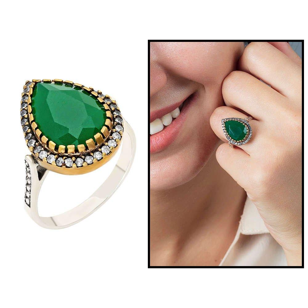 925 Ayar Gümüş Zirkon ve Yeşil Ruby Taşlı Damla Tasarım Otantik Bayan Yüzük