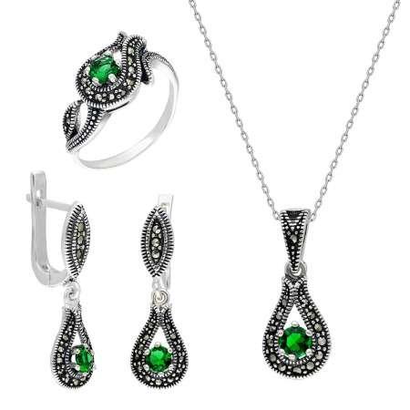 Yeşil Zirkon Taşlı Damla Tasarım 925 Ayar Gümüş 3'lü Takı Seti - Thumbnail