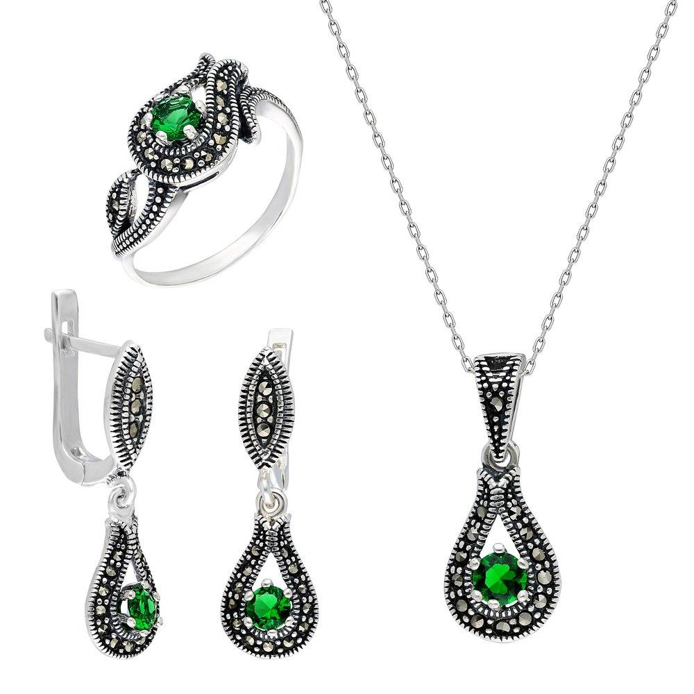 Yeşil Zirkon Taşlı Damla Tasarım 925 Ayar Gümüş 3'lü Takı Seti