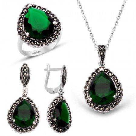 Yeşil Zirkon Taşlı 925 Ayar Gümüş 3'lü Hürrem Seti - Thumbnail
