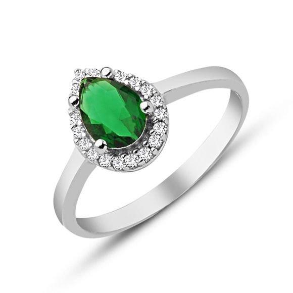 925 Ayar Gümüş Yeşil ve Beyaz Zirkon Taşlı Yüzük