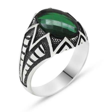 925 Ayar Gümüş Yeşil Zirkon Taşlı Erkek Yüzük - Thumbnail
