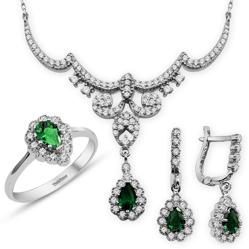 925 Ayar Gümüş Yeşil Zirkon Taşlı Kraliçe Set