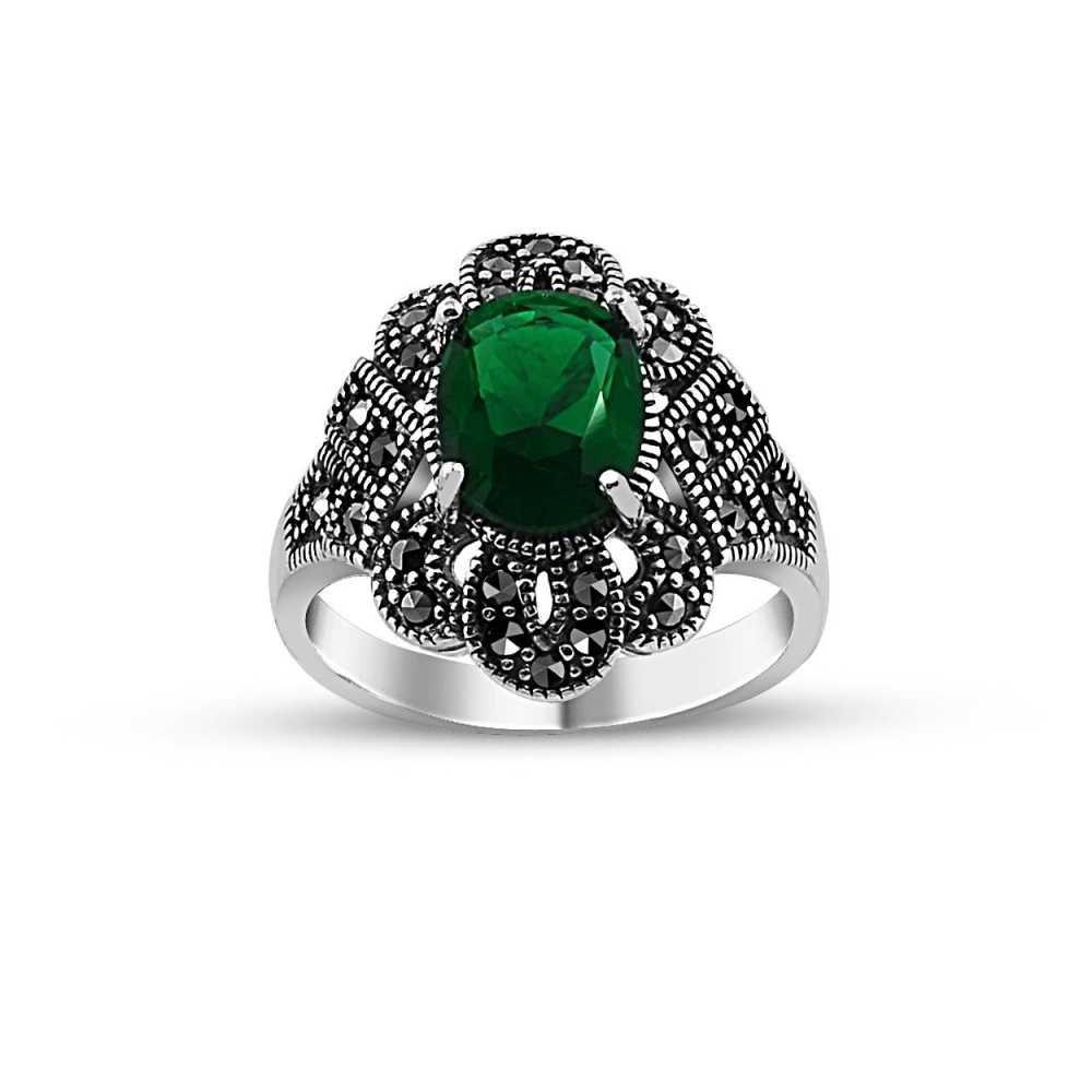 925 Ayar Gümüş Yeşil Zirkon Taşlı Otantik Yüzük