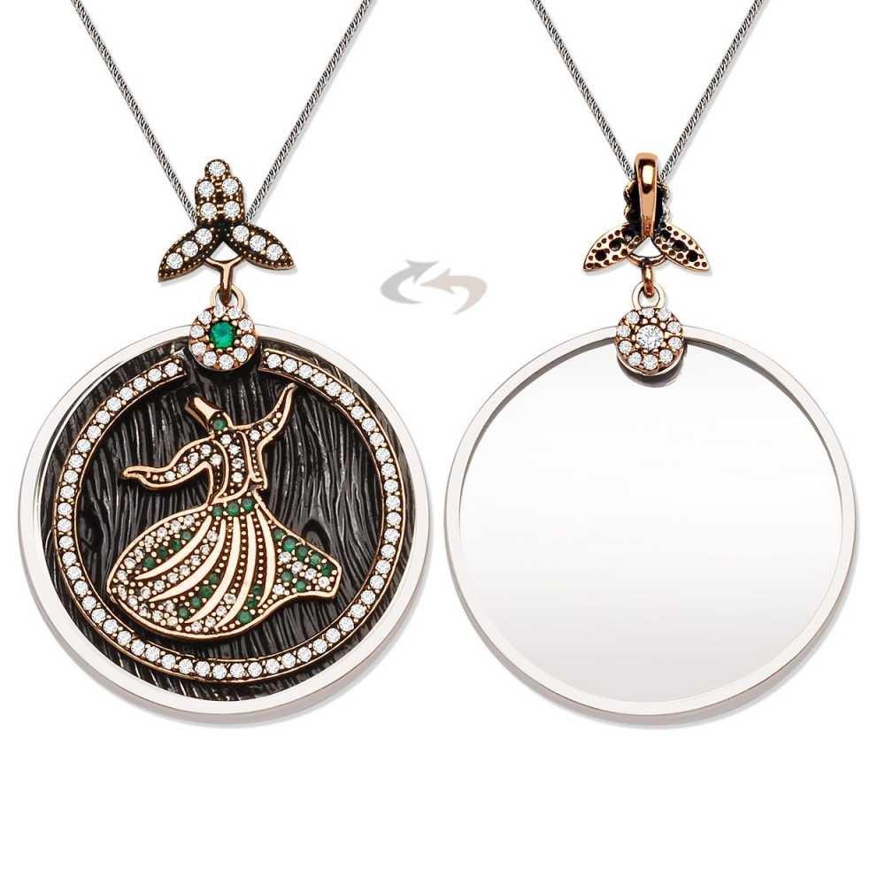925 Ayar Gümüş Yeşil Zirkon Taşlı Semazen Tasarım Kolye