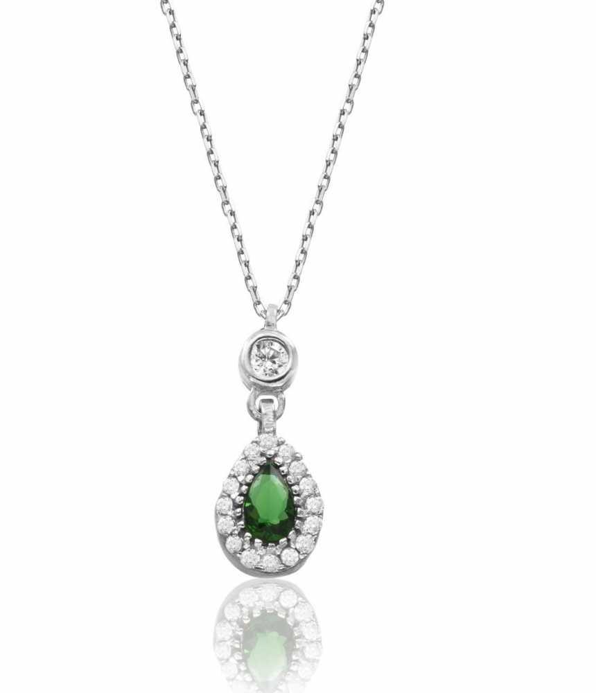 925 Ayar Gümüş Yeşil Zirkon Taşlı Sultan Kolye