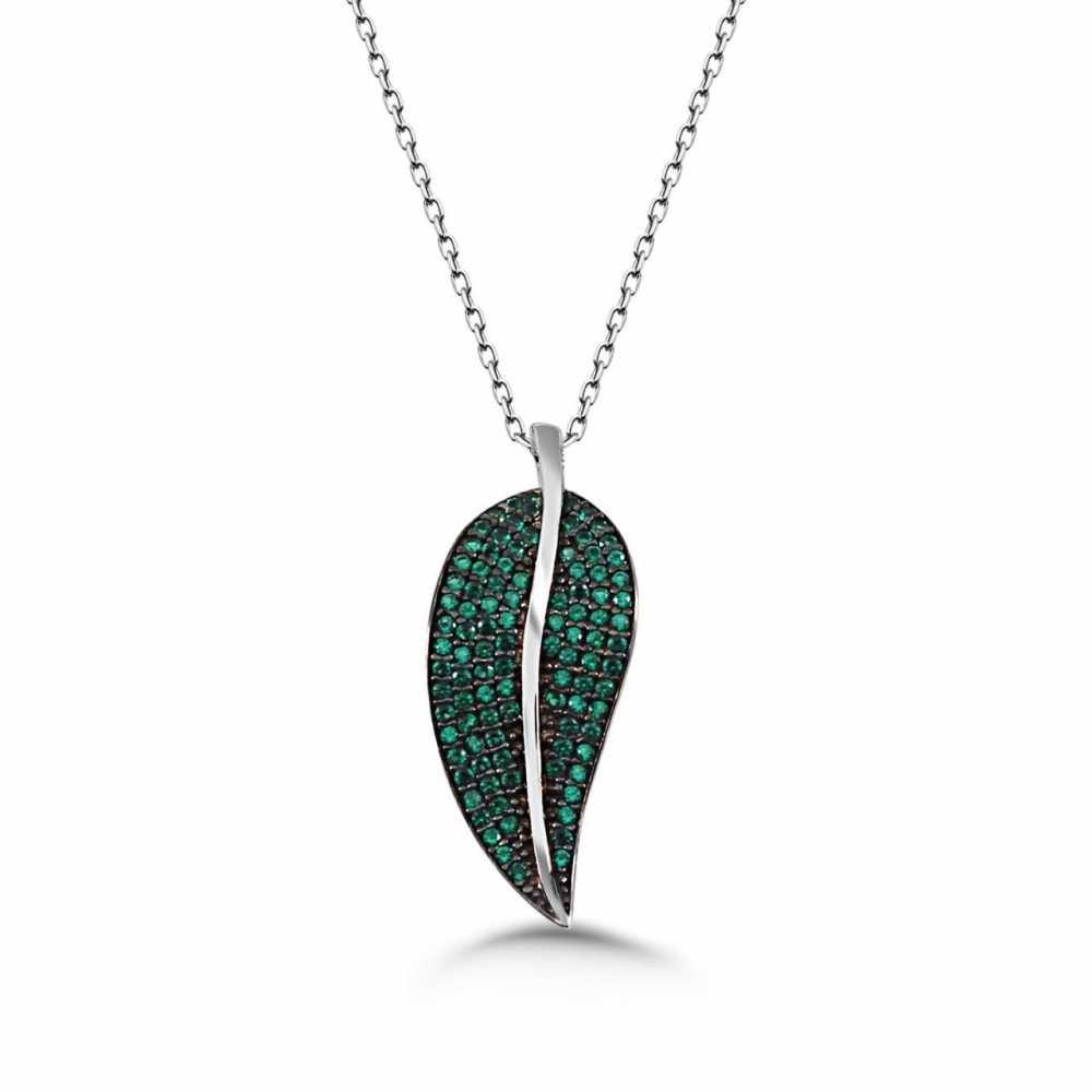 925 Ayar Gümüş Yeşil Zirkon Taşlı Yaprak Kolye
