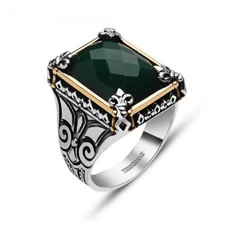 925 Ayar Gümüş Yeşil Zirkon Taşlı Yüzük - Thumbnail