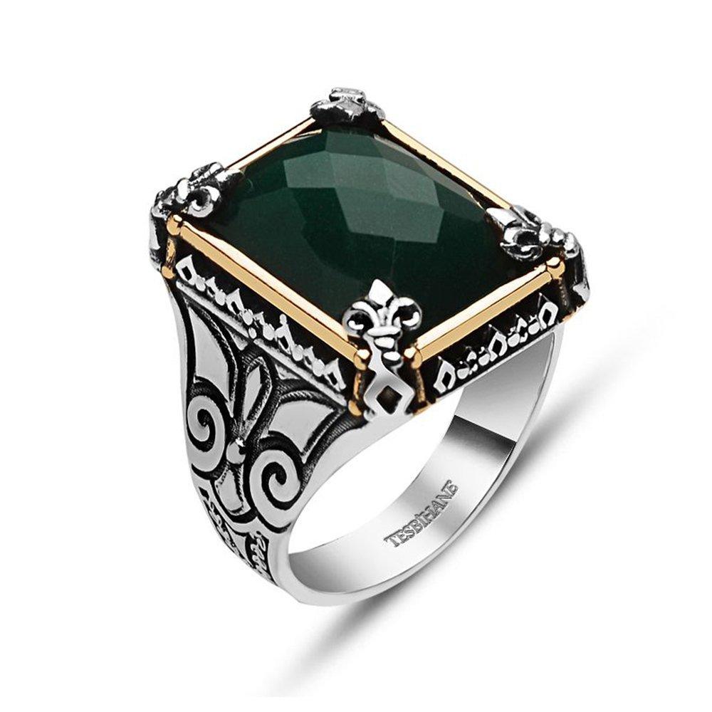 925 Ayar Gümüş Yeşil Zirkon Taşlı Yüzük