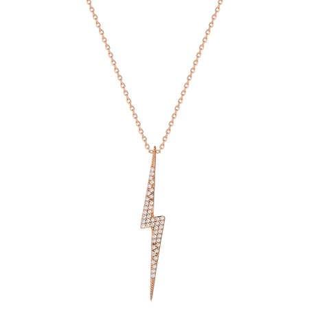 Beyaz Zirkon Taşlı Yıldırım Tasarım 925 Ayar Gümüş Bayan Kolye - Thumbnail