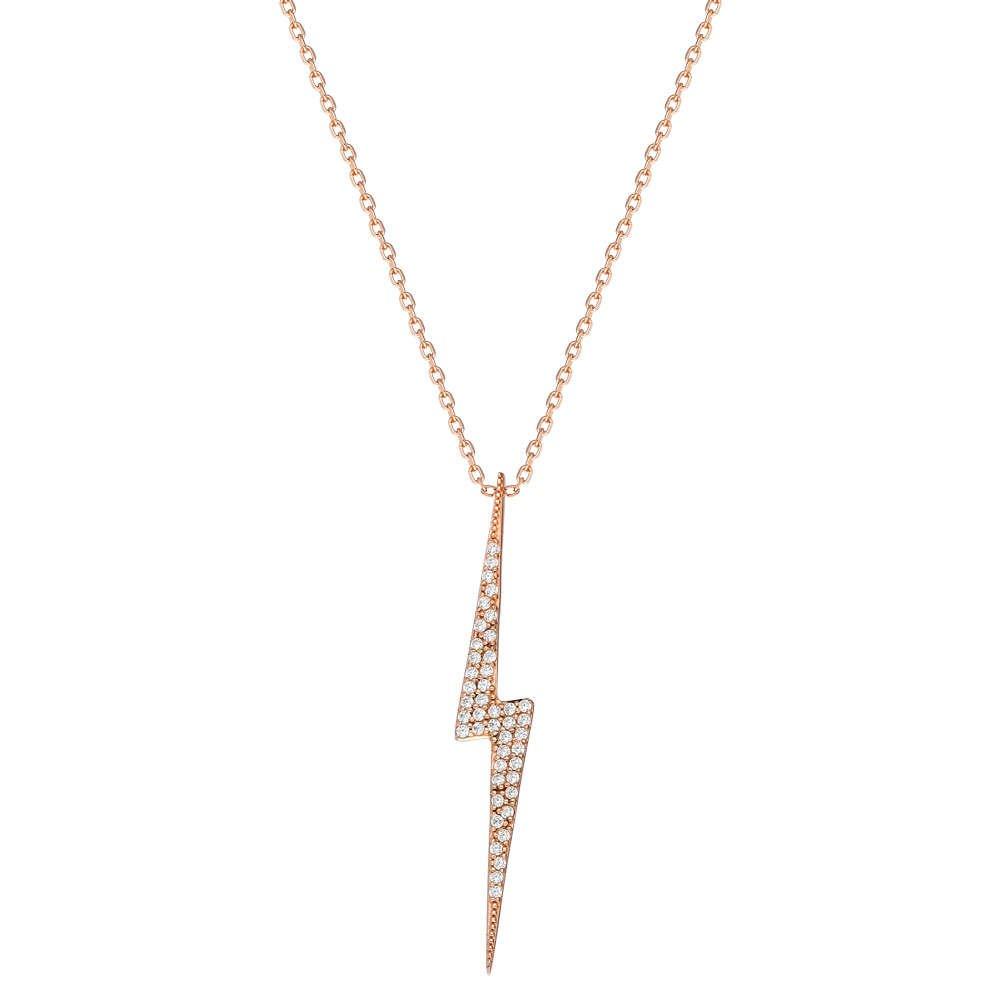 Beyaz Zirkon Taşlı Yıldırım Tasarım 925 Ayar Gümüş Bayan Kolye