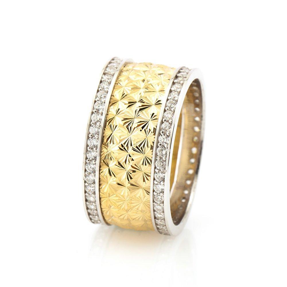Kutup Yıldızı Tasarım Çift Sıra Zirkon Taşlı 925 Ayar Gümüş Bayan Alyans