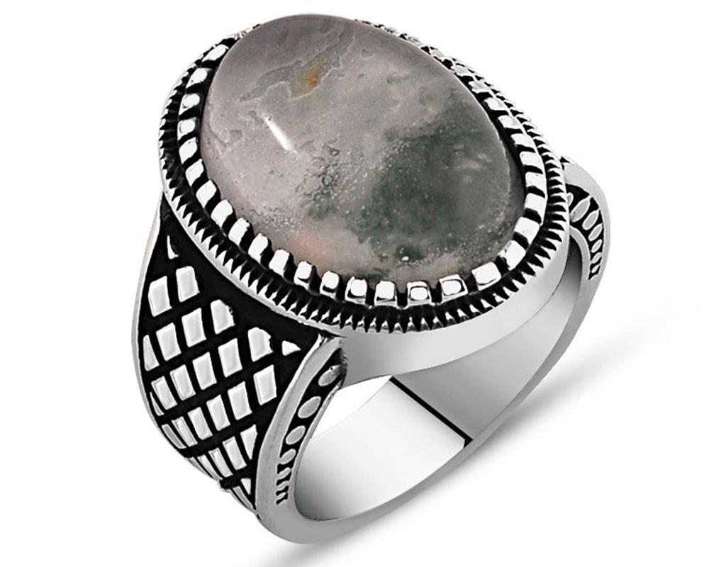 925 Ayar Gümüş Yosun Kuvars Taşlı Yüzük